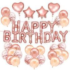 HusDow 70pcs Happy Birthday Decorations, Rose Gold Birthday Banner 10pcs Rose Go