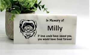 Ferret Marble Memorial Stone- Personalized Pet Burial Marker- Loss of Ferret