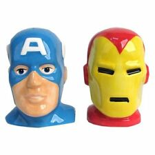 Westland Giftware Captain America Iron Man Head Salt Pepper Shakers Marvel Comic