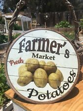 Farmers Market Fresh Potatoes Round Sign Tin Vintage Garage Bar Decor Old Rustic