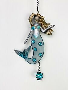Blue Mermaid Metal And Glass Hanging Home Decor