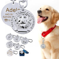 Dog Head Shape Dog ID Tags Personalized Name Address Phone for Free Silver Tags
