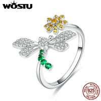 Wostu 925 Sterling Silver Daisy Flower Platinum Plated CZ Open Ring Elegant Gift