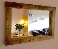 * HANDCRAFTED Chunky Rustic Farmhouse/Driftwood/Country Style Wooden Mirror