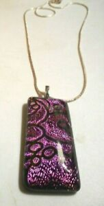 Silver necklace with dichroic purple and black glass rectangular pendant