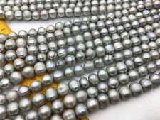 AA 10-11mm gray potato freshwater pearls,custom drill large hole