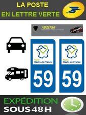 2 AUTOCOLLANT PLAQUE IMMATRICULATION DEPARTEMENT 59 LOGO REGION HAUTS DE FRANCE
