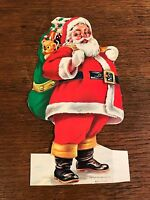 Vintage Die Cut Santa Claus Litho Advertising Christmas Card Ornament Dime Bank