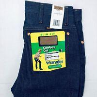Men's Wrangler Jeans Cowboy Cut 936 Slim Fit Rigid Denim Medium Blue Bootcut New