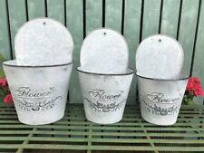 Vintage Grey Wall Planters Metal Zinc Galvanised Flower Plant Pots Garden Bucket