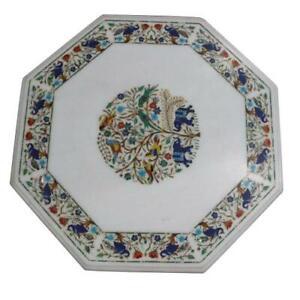"24"" Marble Table Top Handmade Semi precious stones floral Work"