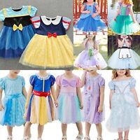 New Kid Girl Princess Cinderella Rapunzel Aurora Mermaid Cosplay Party Dress