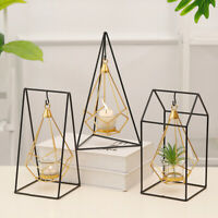 Nordic Style 3D Geometric Candlestick Metal Hanging Candle Rack Holder Art Decor