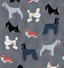 RPFFT127 Puppy Dog Schnauzer Poodle Terrier Retro Cotton Quilt Fabric