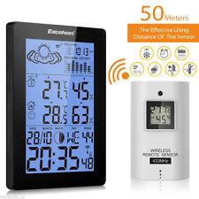 LCD Funkuhr Wetterstation mit Außensensor Wettervorhersage Thermometer Barometer
