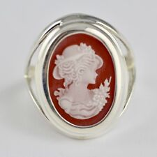 Antique Style Lady Cameo Ring 925 Sterling Silver Hallmarked Size 8