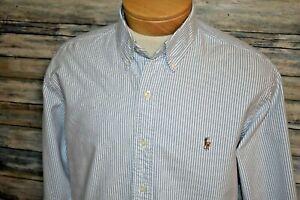 RALPH LAUREN CLASSIC FIT Large Men's L/S Button Down Oxford Shirt Blue Striped