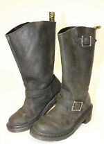 Dr. Martens Rowena Womens 7 38 Black Leather Biker Harness Moto Engineer Boots