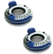 Intex River Run Inflatable Floating Tube Water Raft for Lake River Pool (2 Pack)