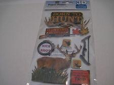Scrapbooking Stickers Paper House Born to Hunt Deer Buck Bow Gun Signs Buddies