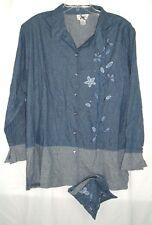 Silk Blouse Cervelle Womens 1X Button Front Blue Floral Artsy Boho
