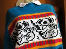 LARGE True Vtg 80s Koala Bear Embroidered Heartland Usa Ugly Sweat Blue TOP