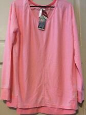NEW Womens Pink Coral Burn Out Sweatshirt Trendy Faded Shirt XL/L Soft Top
