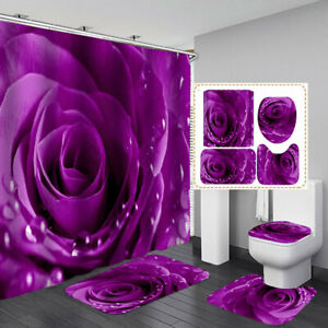 Purple Rose NonSlip Door Bath Mat Toilet Cover Rug Shower Curtain Bathroom Decor
