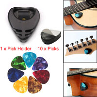 Guitar Pick Holder Case+Free 10pcs 0.46mm Picks for Electric Guitar Bass Ukulele