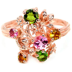 NATURAL AAA MULTI COLOR TOURMALINE ROUND STELRING 925 SILVER FLOWER RING 6.5