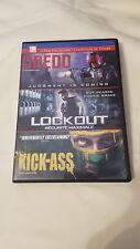 Dredd / Lockout / Kick-Ass ( DVD, 2013, 3-Disc Set, Canadian ) TRIPLE FEATURE