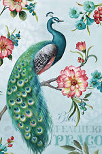 Blue Feathered Peacock I Lisa Audit Bird Animal Floral Flower Print Poster 24x36