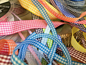 Berisfords Gingham Check Ribbon Choose Shade 5 10 15 25 40 mm Widths Per Metre