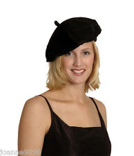 Adult Mens Ladies Black French Beret Mime Hat Cap Fancy Dress Costume Accessory