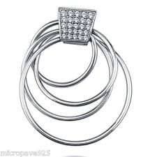 Silver Pave Set White Cubic Zirconia Brand New Circle Pendant 925 Sterling