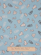White Dogs Fire Hydrants Light Blue - Timeless Treasures Cotton Fabric YARDS
