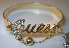 GUESS by Marciano Dore Or Logo Bracelet Gourmette Strass G Neuf