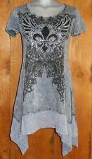 nwt VOCAL TUNIC DRESS SHIRT western bling TYE-DYED MED FLEUR-DE-LIS vintage GRAY