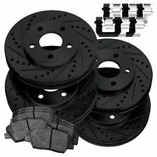 Fit Subaru Impreza Front Rear Black Drill Slot Brake Rotors+Ceramic Brake Pads