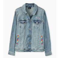 Torrid Disney Runway Mickey Mouse embroidered Rainbow denim jacket size 1X 14/16