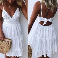 Women Sexy Casual Fashion Slim Fit Sleeveless Balckless Summer Beach Dress White