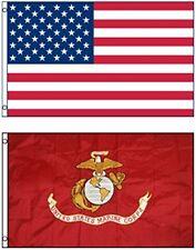 2 Pack 3x5 Marines Ega Marine Flag + U.S. American Flag 3x5 Foot Grommets