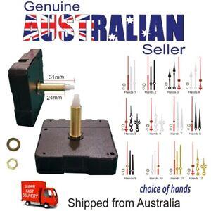 Clock Mechanism Quartz DIY Silent Repair Kit 31/24mm plus Hands & Hanger AU