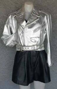 Leather crop biker style jacket, beaded By 'Dangerous Threads' USA ,1980's, s...