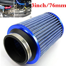 "Blue 3"" Air Filter Clean Intake For Car High Flow Short RAM/COLD Round Cone"