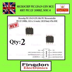 2 Qty Microchip PIC12F629-I/SN MCU 8BIT PIC12F 20MHZ, SOIC-8 UK Seller