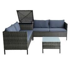 Polyrattan Sitzgruppe Loungeset Gartenmöbel Set inkl. Auflagenbox Anthrazit-Grau