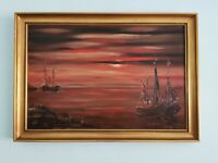 Original Oil Painting .Signed, Sunset Boat Seascape. Framed