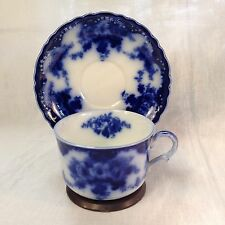 Antique Devon Alfred Meakin Flow Blue Teacup/Saucer ENGLAND 1907 (4/6) No Chips
