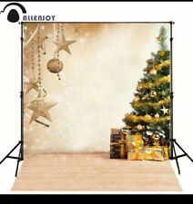 Allenjoy Golden Christmas Tree Photo Backdrop 5x7